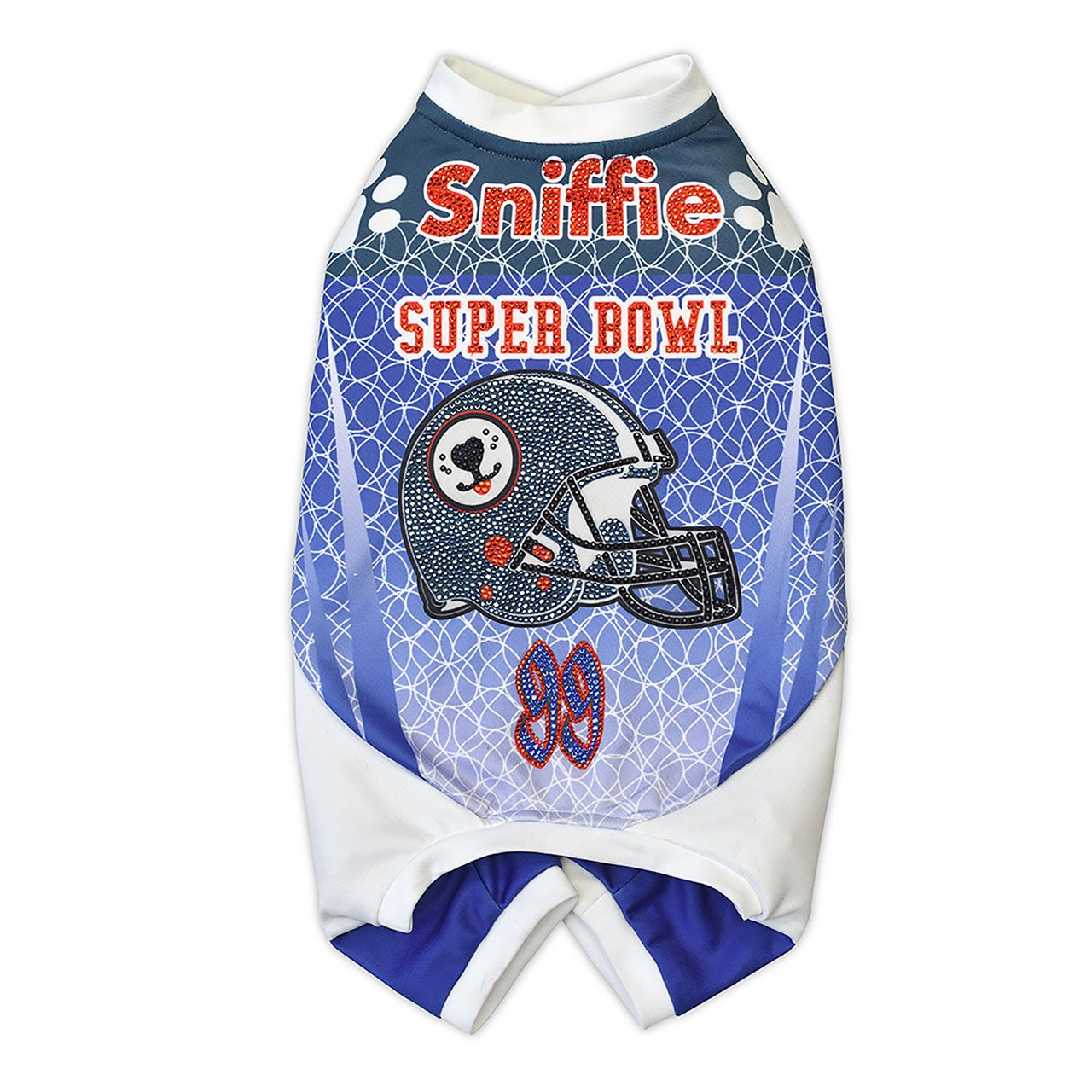 Sniffie Dog Fashion Dog Clothes American Football Padded Sportswear with Crystals