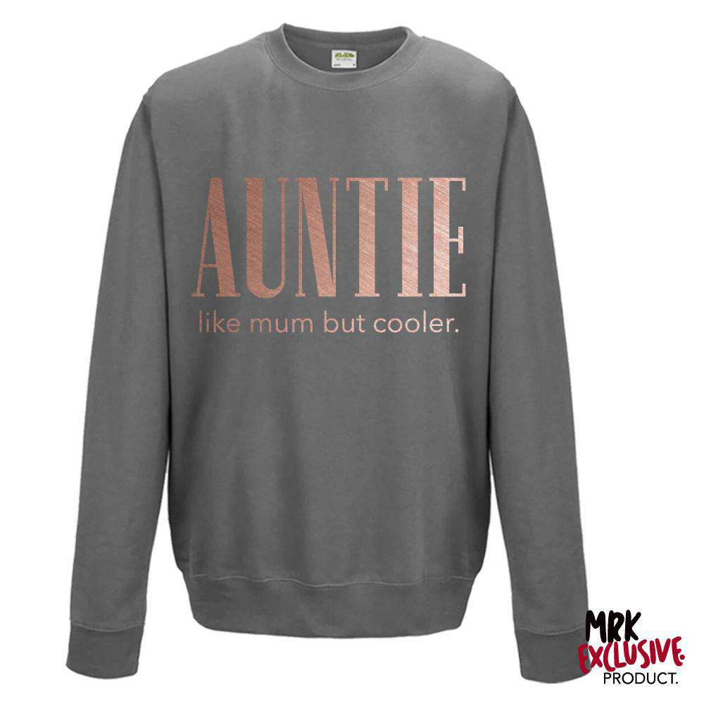 Auntie (Cooler than Mum) Steel Grey/Rose Gold Sweater (MRK X)