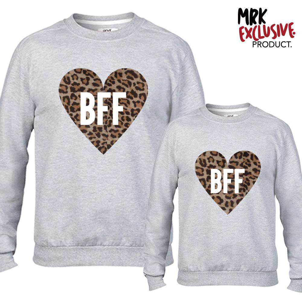 BFF Leopard Heart Grey Matching Sweaters (MRK X)