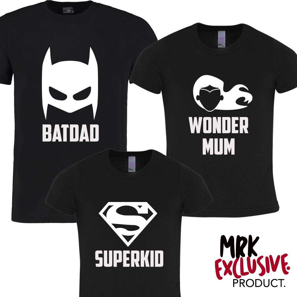 Superhero Family Matching Black Tees (MRK X)