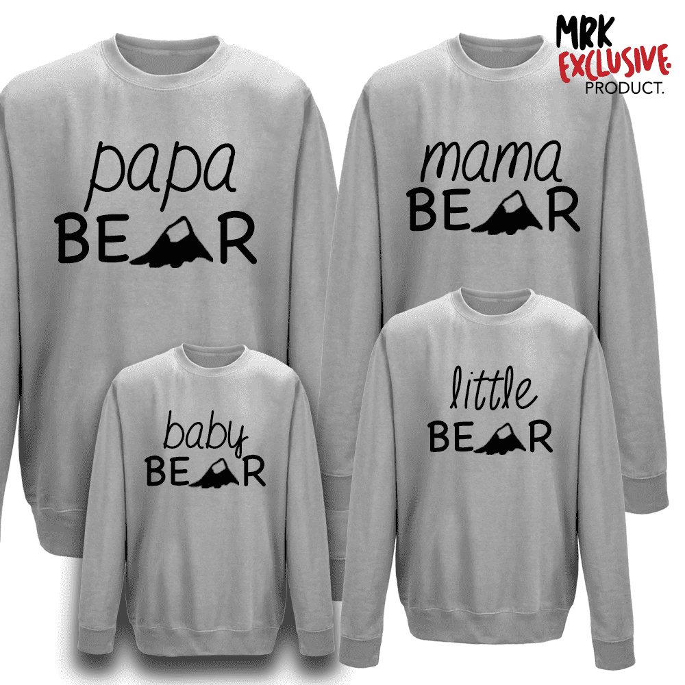Bear Family Matching Crew Sweats - Grey (MRK X)