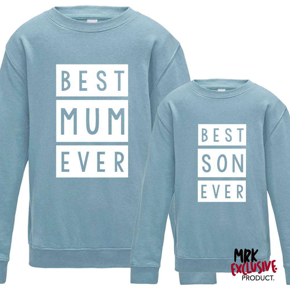 Best Mum & Best Son Matching Pastel Blue Sweaters (MRK X)