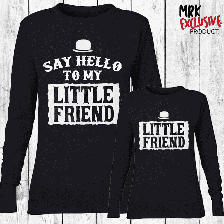 My Little Friend Matching Crew Sweaters - Black (MRK X)