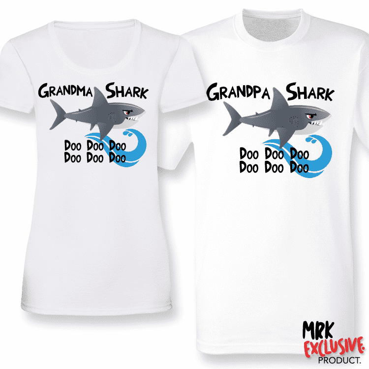 Shark Family Grandma and Grandpa Matching T-Shirts - White (MRK X)