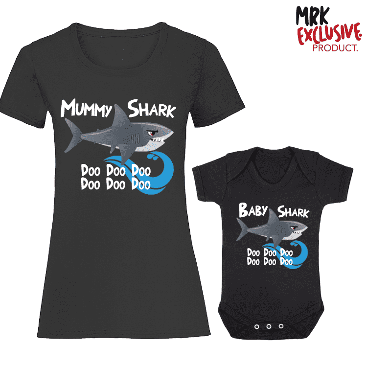 Shark Family Mummy and Baby Matching T-Shirt/Vest - Black (MRK X)