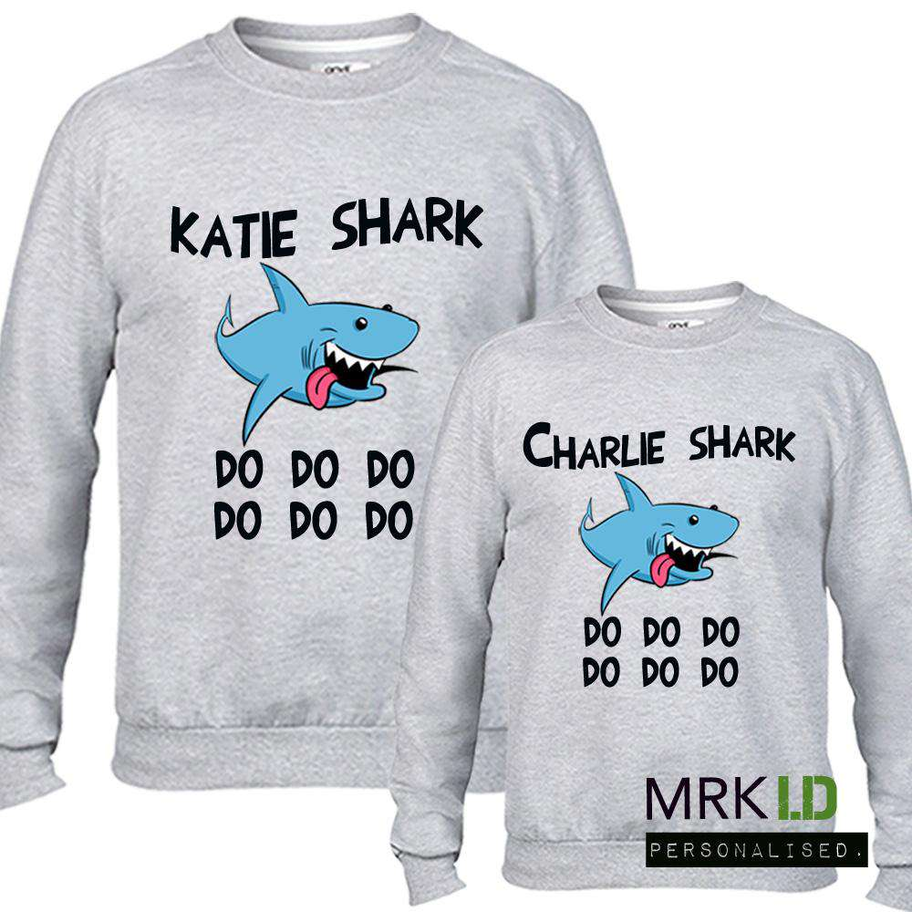 Personalised Matching Mum & Kid Shark Grey Sweaters (MRK X)
