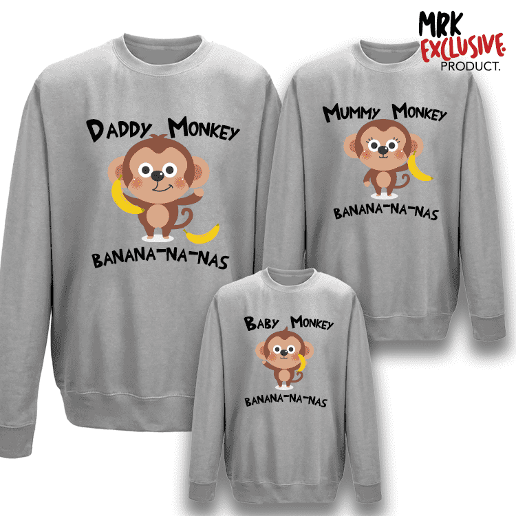 Baby Monkey Song - Matching Crew Sweats - Grey (MRK X)