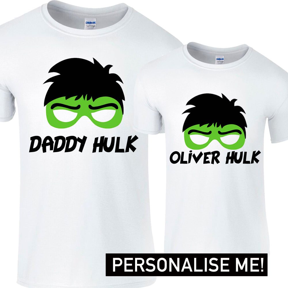 Personalised Daddy & Name Hulk Matching Tees (MRK X)