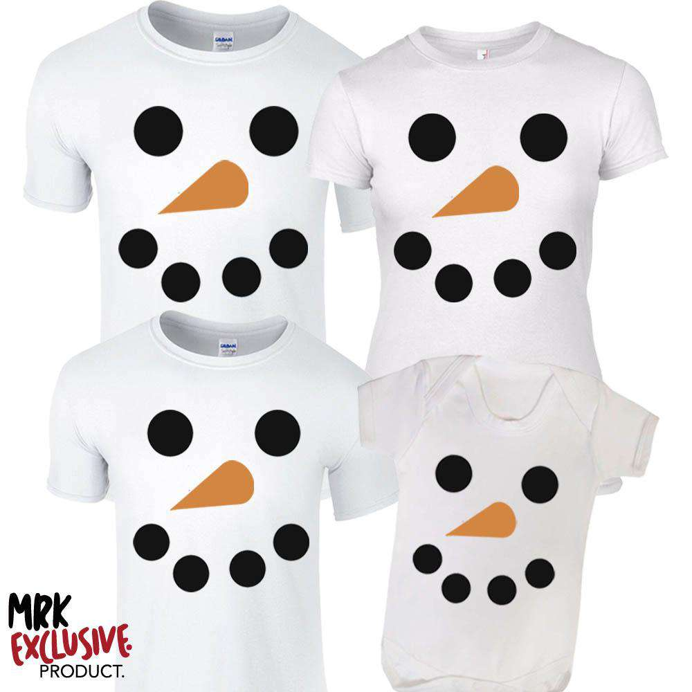 Snowman Family White Matching Tees & Bodysuits (MRK X)