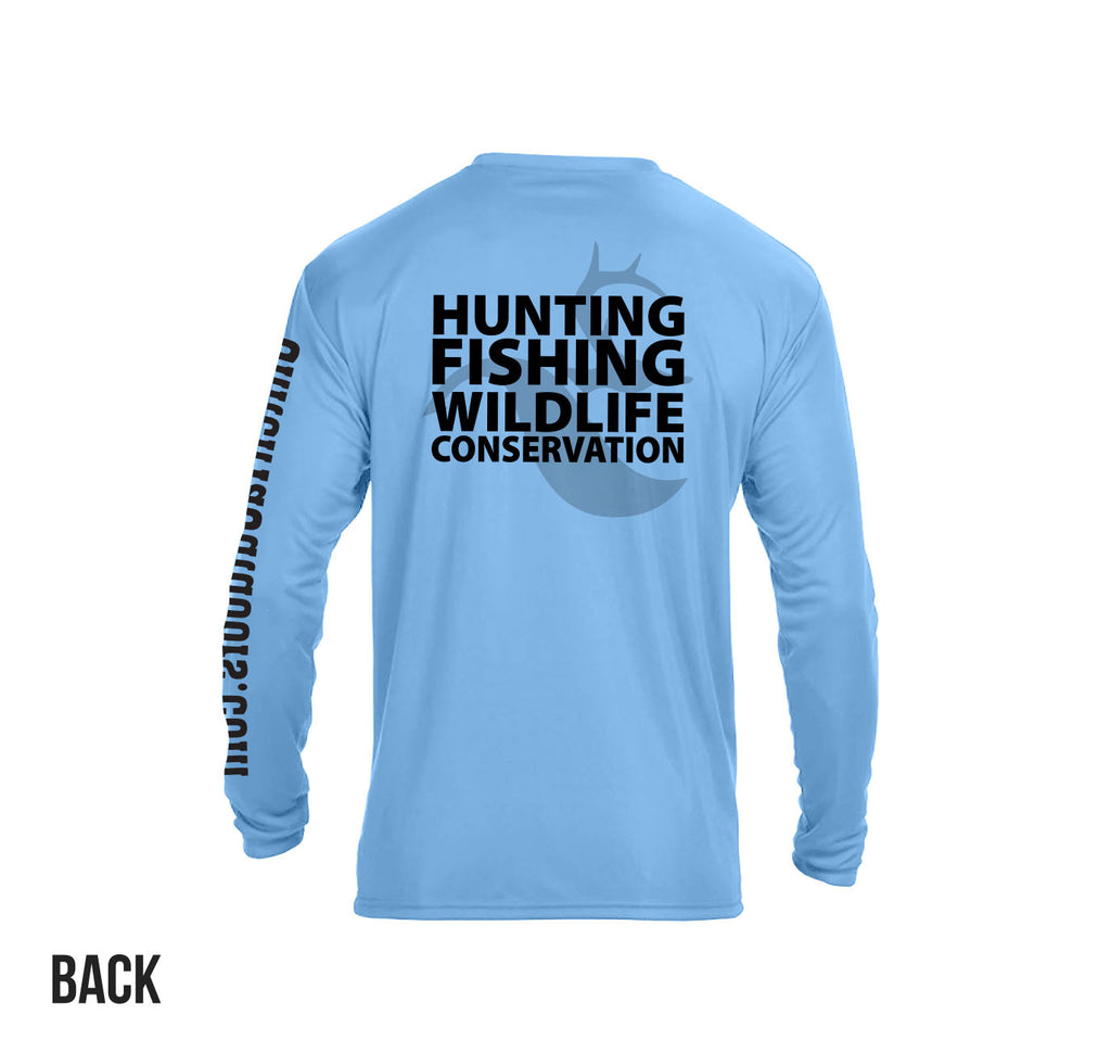 "Light Blue ""Hunting Fishing Wildlife Conservation"" LS Perf. Tee"