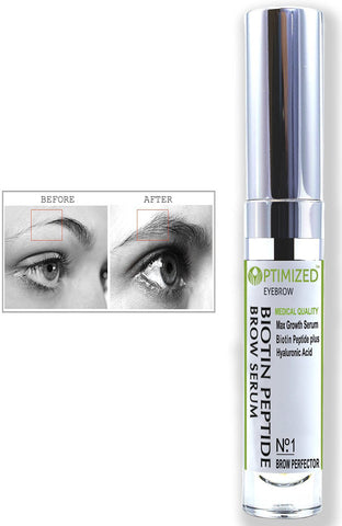 Infused Eyebrow Serum Get Visibly Longer, Fuller, Thicker, Darker Eyebrows with Natural Hyaluronic Acid + Tripeptide Anti Aging Medical Grade Formula For Perfect Brows - BIOTIN PEPTIDE  OPTIMIZED