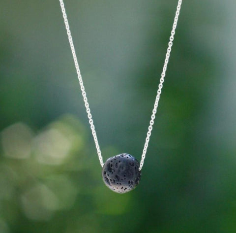 Lava Stone Round Essential Oil Diffuser Necklace