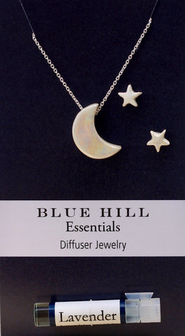 Iridescent Moon and Stars Essential Oil Necklace and Earrings