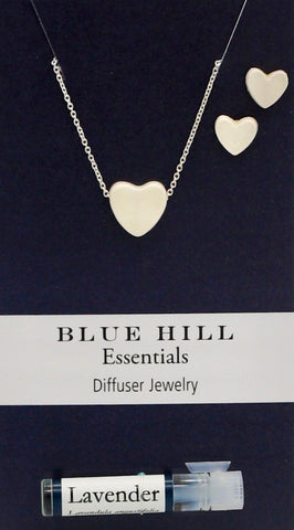 White Tiny Hearts Essential Oil Necklace and Earrings