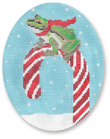 Frog on Candy Cane