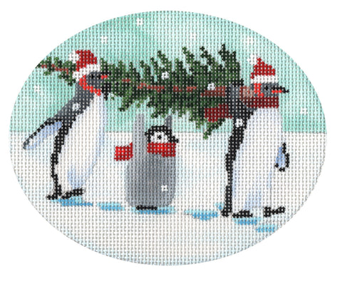 Penguins Bringing Home the Tree