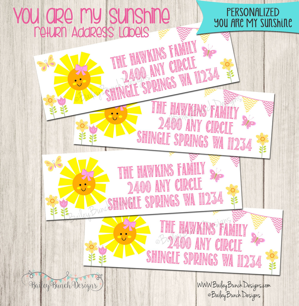 You are my Sunshine Return Address Labels SUNADR0520