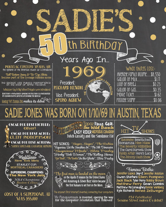 2019 New Design - Birthday Sign, 50th Birthday Chalkboard, Back in 1969 Board 50YR19690520