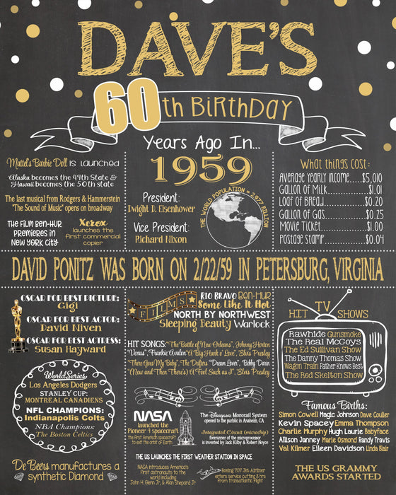 2019 New Design - Birthday Sign, 60th Birthday Chalkboard, Back in 1959 Board 60YR19590520