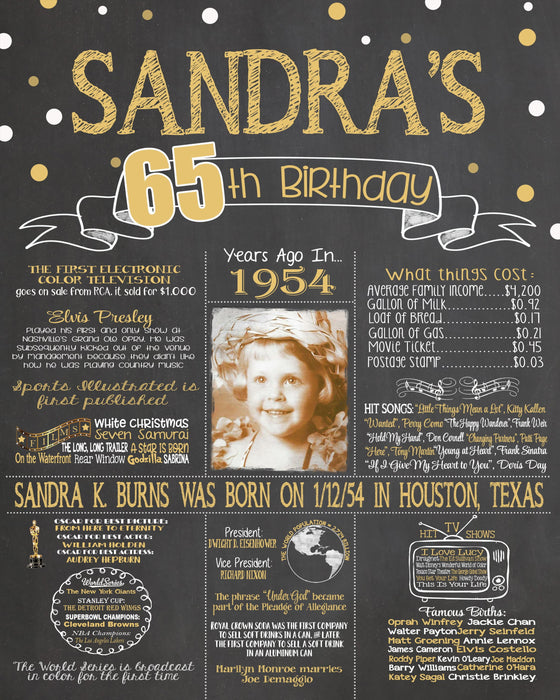 2019 New Design - Birthday Sign, 65th Birthday Photo Chalkboard, Back in 1954 Board 65PIC19540520