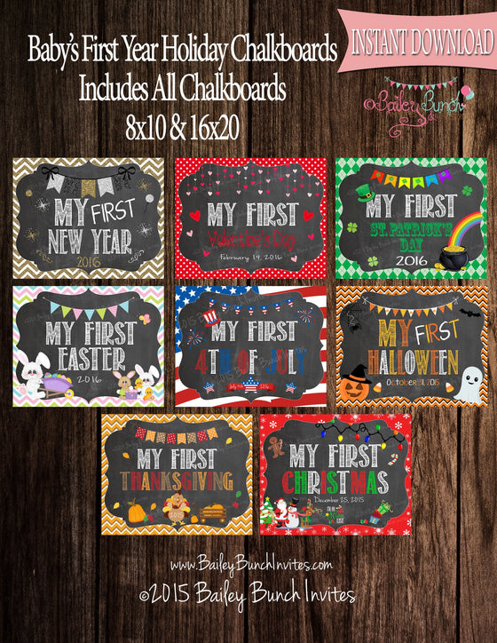 Baby's 1st Year Chalkboard Signs - INSTANT DOWNLOAD IDBB1STYRCHALK0520