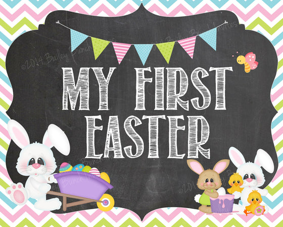 Baby's 1st Easter Chalkboard Sign - INSTANT DOWNLOAD ID1STEASTERCHALK0520