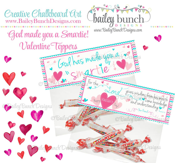 God has made you a Smartie Bag Toppers, Valentines IDVDAYSMARTIEPINK0520