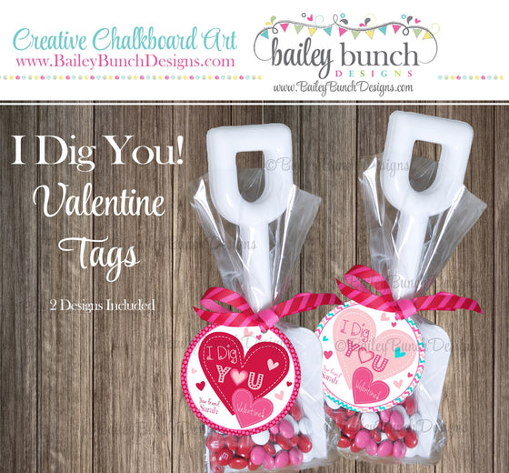 I Dig You Shovel Valentine Treat Tags, Pink, Red Valentines VDAYDIGPINK0520