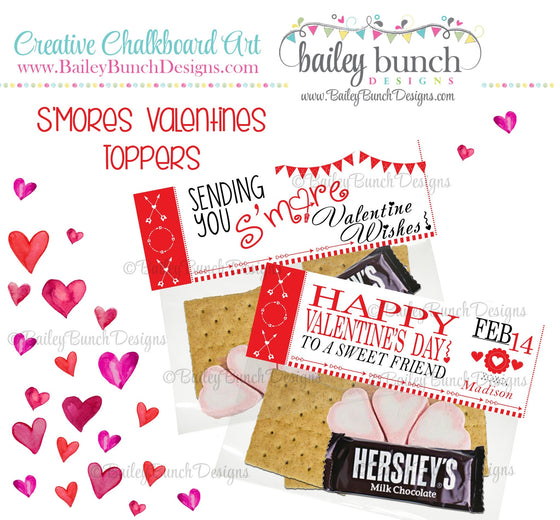 Sending you S'more Valentine Wishes Bag Toppers, Valentines VDAYSMORE0520