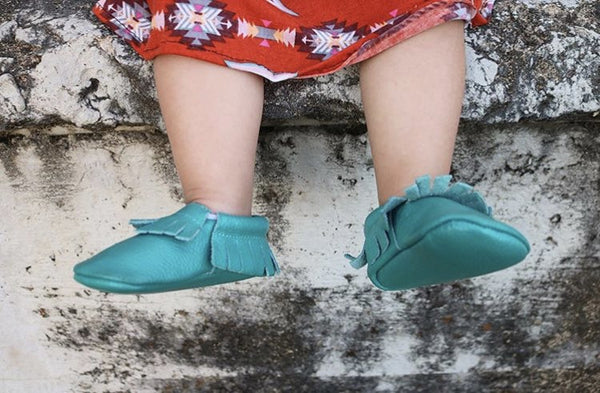 Baby Moccasins - Teal Blue Leather with Fringe