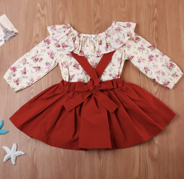 Baby/Toddler/Kids Red Floral Suspender Dress