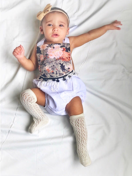 Baby/Toddler White Floral Romper