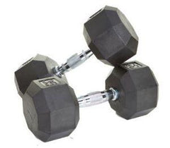 VTX SET OF RUBBER HEX DUMBBELLS (no racks)  by TROY BARBELL