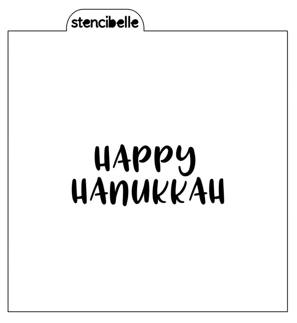 Happy Hanukkah 2 Stencil