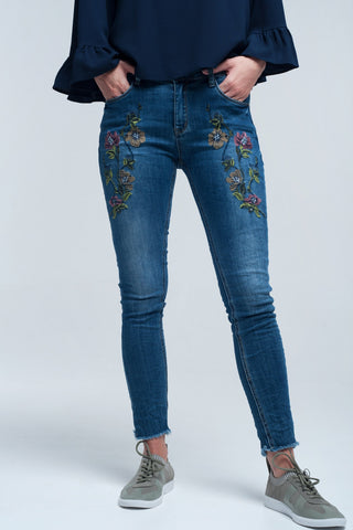 Blue skinny jean with embroideries - Epethiya