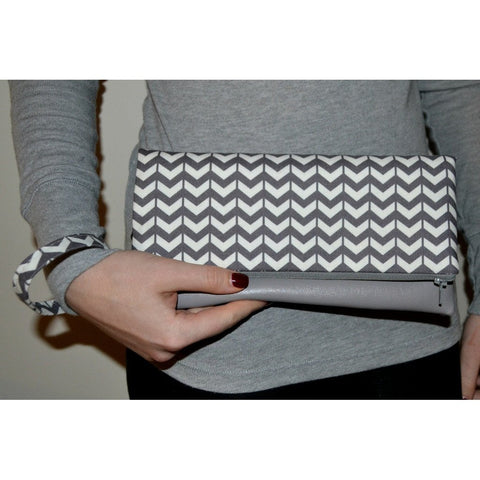 Adrienne Fold Over Clutch - Grey Chevron with Grey Vegan Leather - Epethiya