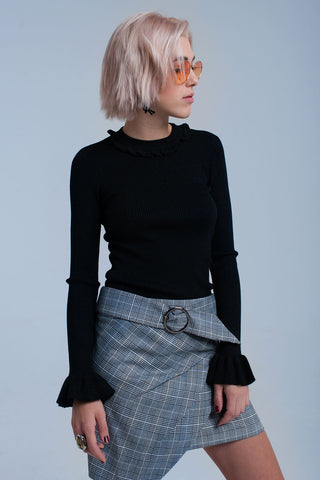 Black shiny sweater with ruffle - Epethiya