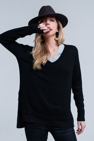 Black ribbed V-neck sweater - Epethiya