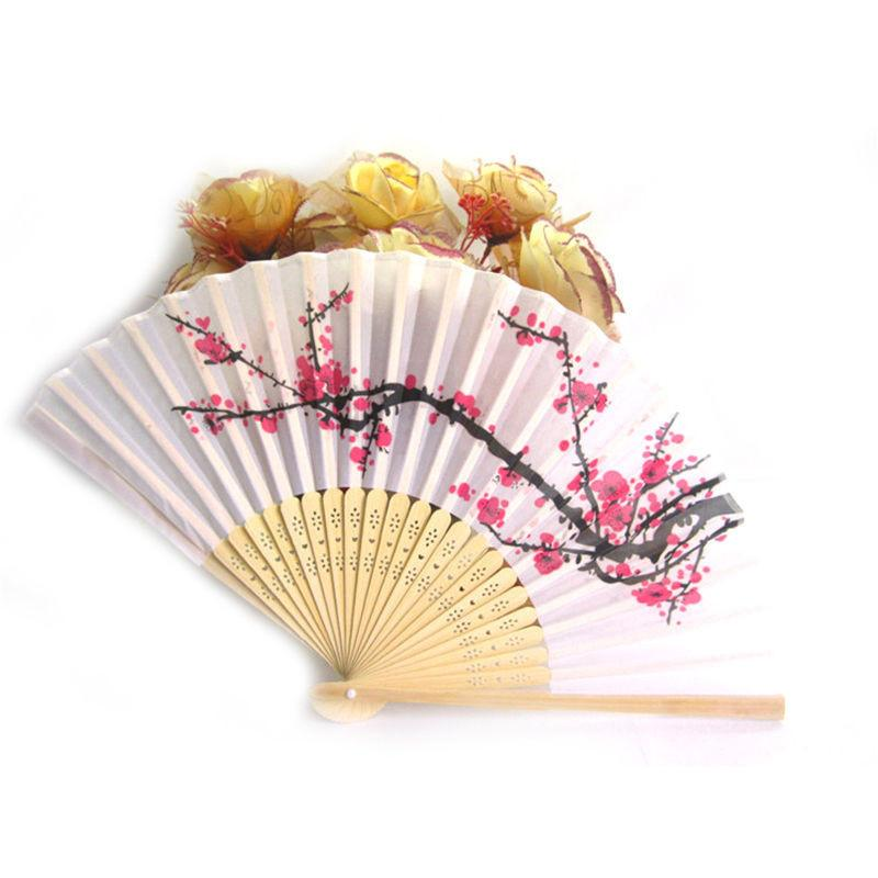 Elegant Plum Blossom Flower Folding Hand Fan