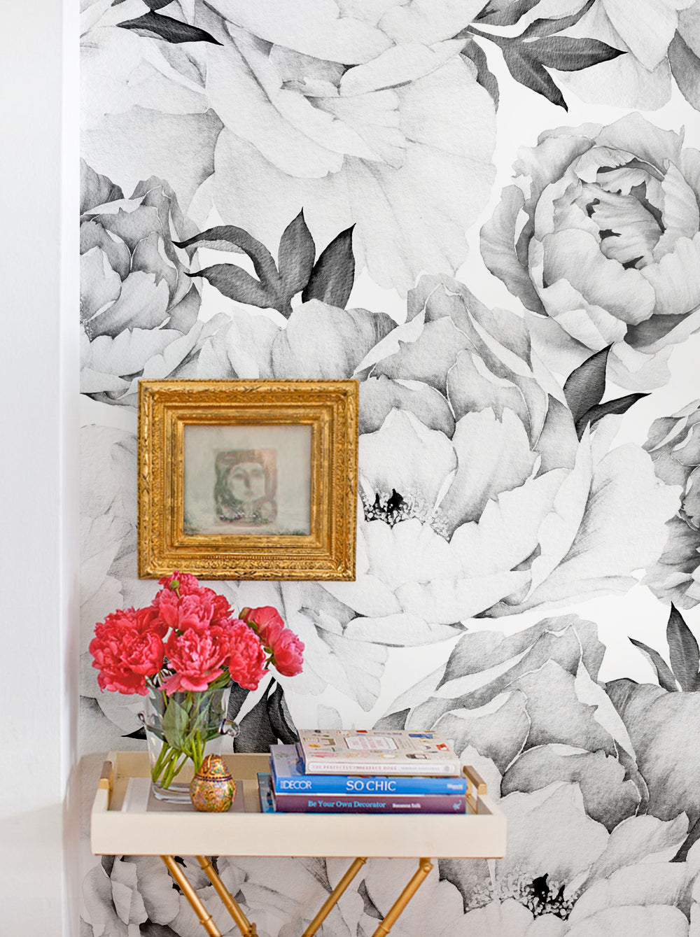Peony Flower Mural Wall Art Wallpaper - Peel and Stick