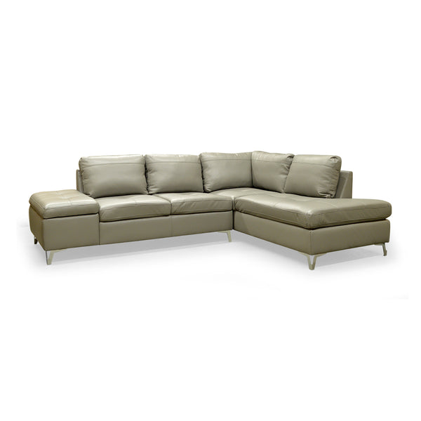 RHF Grey Color Leather Gel Sectional  - 7168