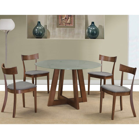 Edmonton Furniture Store | Middle Century Modern Round Glass-Top 5 Pcs Dining Table Set in Walnut - Sonos