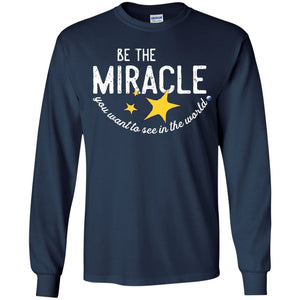 """Be the Miracle"" - Shirts for Kids (Boys and Girls) - Apparel - Long Sleeve Shirt - Navy - YS"