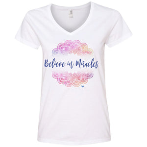 """Believe in Miracles"" - Shirts And Tank Tops - Pink Mandala Design - Apparel - Ladies' V-Neck Tee - White - Small"