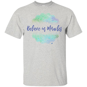 """Believe In Miracles"" - Shirts And Tanks For Women - Green Mandala - Apparel - Custom Ultra Cotton T-Shirt - Ash - Small"