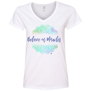 """Believe In Miracles"" - Shirts And Tanks For Women - Green Mandala - Apparel - Ladies' V-Neck Tee - White - Small"