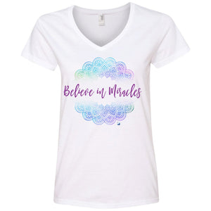 """Believe in Miracles"" - Women's Shirts & Tank Tops - Blue Mandala - Apparel - Ladies' V-Neck Tee - White - Small"
