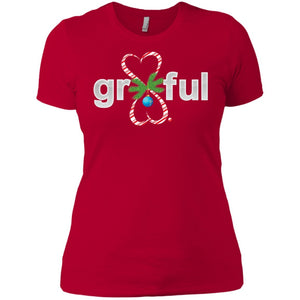 LIMITED EDITION! Gr8Ful Heart Ladies' Boyfriend Tee - Holiday Style - Short Sleeve - Candy Cane/Red - X-Small -