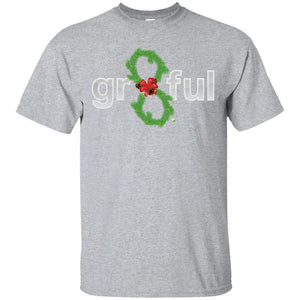 LIMITED EDITION! Gr8Ful Heart Mens/Unisex T-Shirt - Holiday Style - Short Sleeve - Holiday Garland/Grey - Medium -