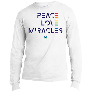 """Peace, Love, Miracles"" Men's Long Sleeve Tops-Apparel-Long-Sleeve-White-S-The Miracles Store"